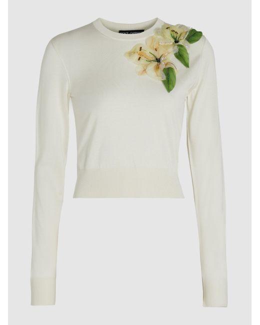 Dolce & Gabbana White Embellished Appliquéd Silk Sweater