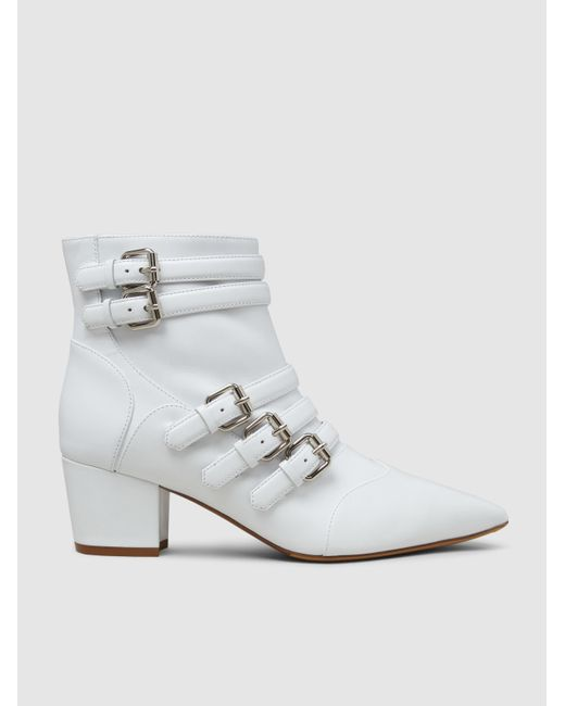 Tabitha Simmons | White Christy Leather Buckled Boots | Lyst
