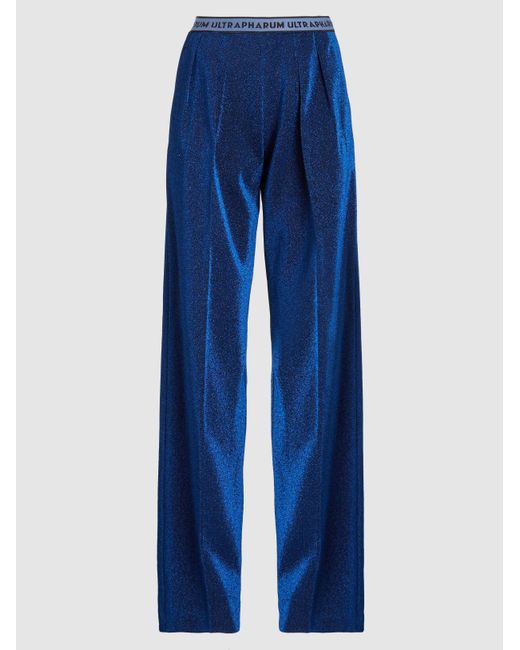 Marco De Vincenzo - Blue Lurex Straight-leg Trousers - Lyst