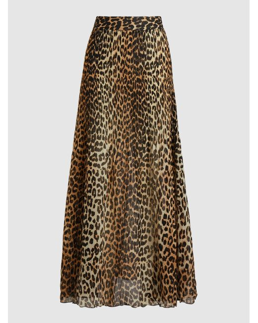 Ganni Brown Leopard Print A-line Long Skirt