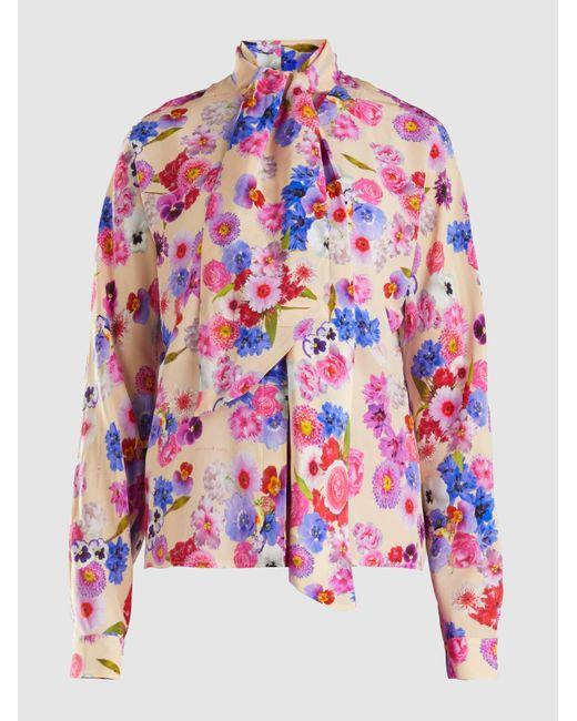 Natasha Zinko - Multicolor Floral Printed Long-sleeve Tie-neck Silk Blouse - Lyst