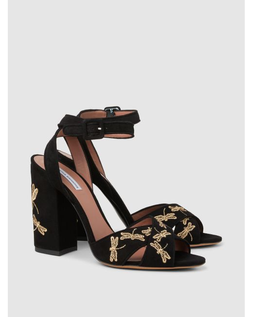 Connie Fly Embroidered Suede Block-Heel Sandals Tabitha Simmons lhhPC2