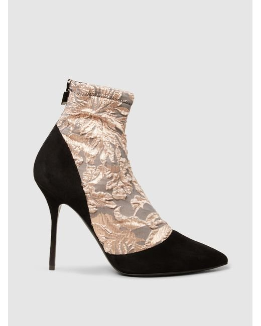 Pierre Hardy Multicolor Lace And Suede Ankle Boots