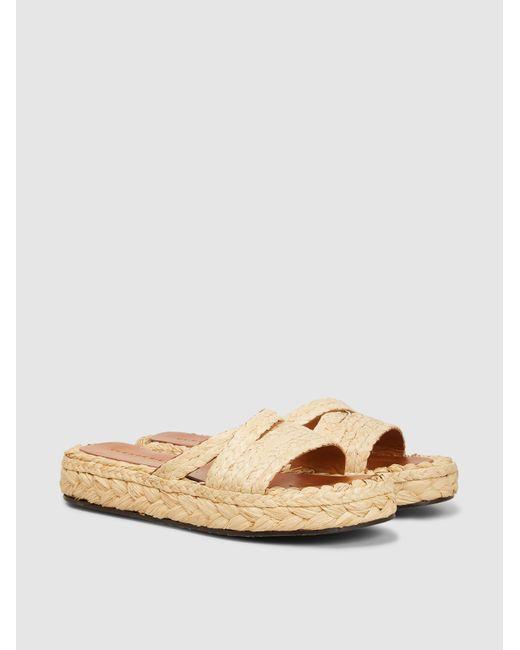 ea37993f1e9 Lyst - Clergerie Idalie Raffia Flat Sandals in Natural - Save 47%