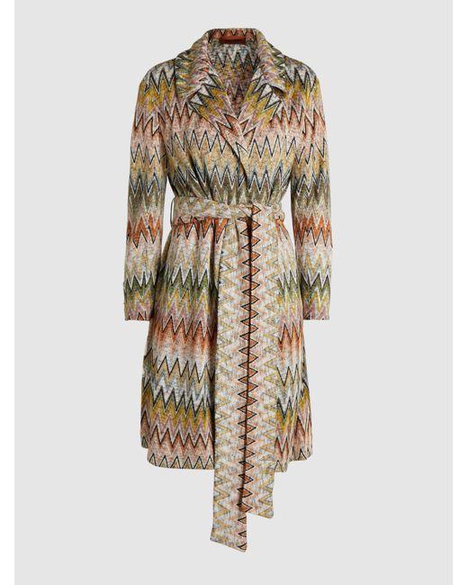 Missoni Multicolor Zig Zag Pattern Crochet-knit Wool-blend Trench Coat
