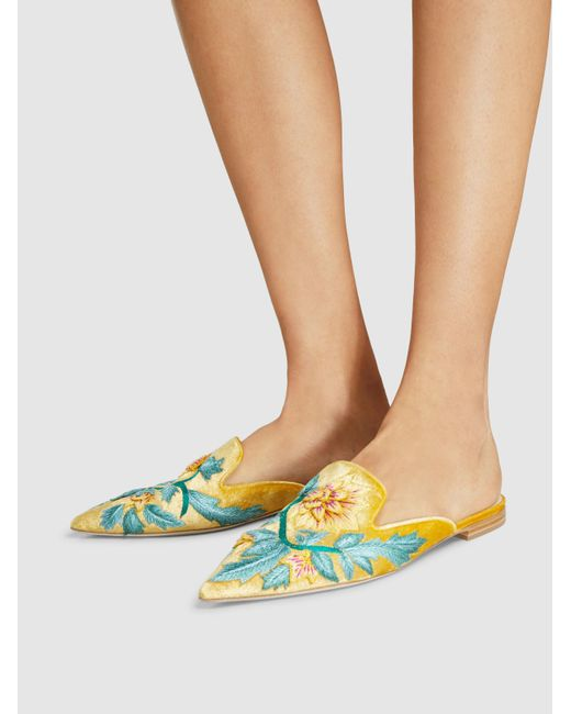 Alberta Ferretti Floral-Embroidered Velvet Mules lowest price cheap price enjoy shopping free shipping best seller buy cheap visit new h2t1cWEde
