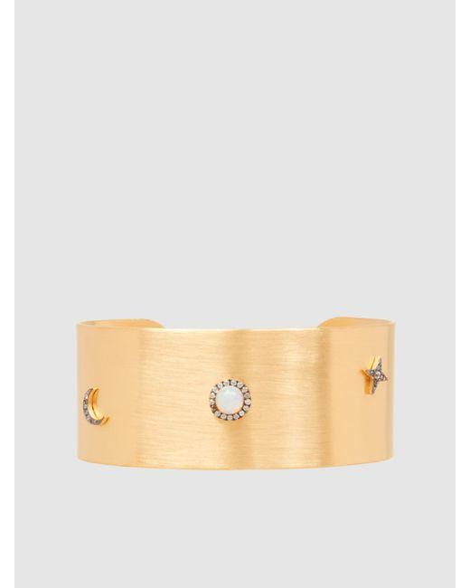 Ileana Makri | Metallic Gold-plated Opal And Sapphire Cuff | Lyst