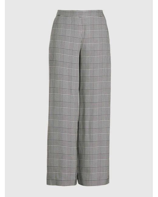 LAYEUR Gray Dench Wide Leg Checked Twill Trousers