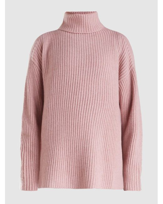 Le Kasha Pink Lisbon Oversized Roll Neck Cashmere Sweater