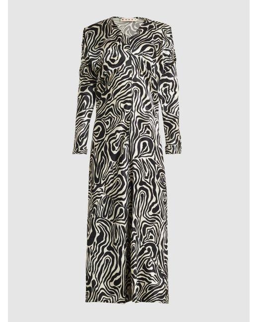 Marni - Black Printed Satin Midi Dress - Lyst