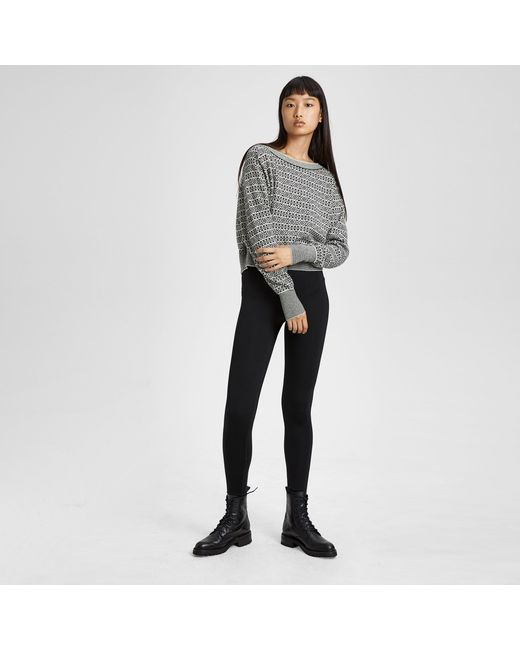 Lyst - Theory Cashmere Fair Isle Boatneck Sweater in Black