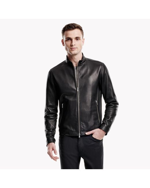 Theory   Black Leather Zip Jacket for Men   Lyst