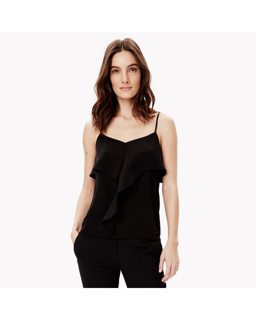 Theory Silk Ruffle Camisole in Black | Lyst