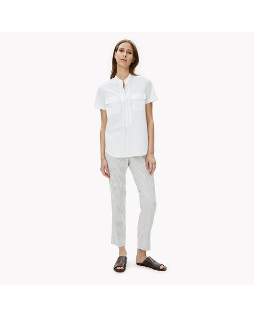 Theory Cotton Poplin Tie Front Shirt In White Lyst