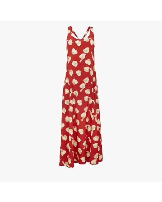 Theory | Red Printed Silk Crepe Maxi Dress | Lyst