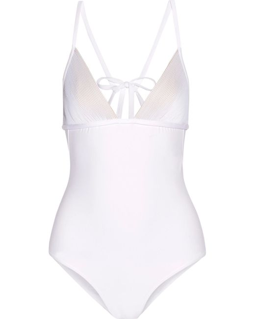 La Perla - White Ribbed Swimsuit - Lyst