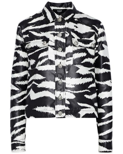 Versus  - Black Coated Zebra-print Satin-twill Jacket - Lyst