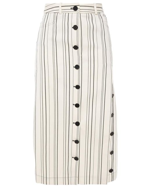 Altuzarra White Striped Cotton-twill Midi Skirt