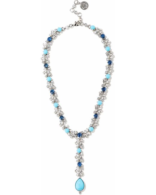 Ben-Amun - Metallic Woman Silver-tone, Swarovski Crystal And Stone Necklace Silver - Lyst