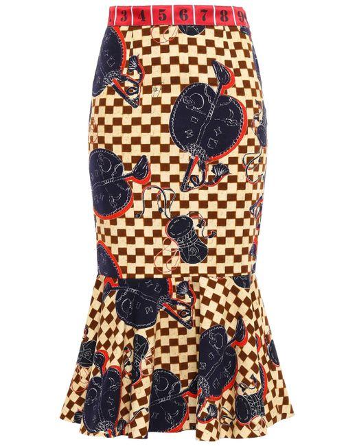 Stella Jean Multicolor Fluted Satin Jacquard-trimmed Printed Cotton-twill Midi Skirt Pastel Yellow