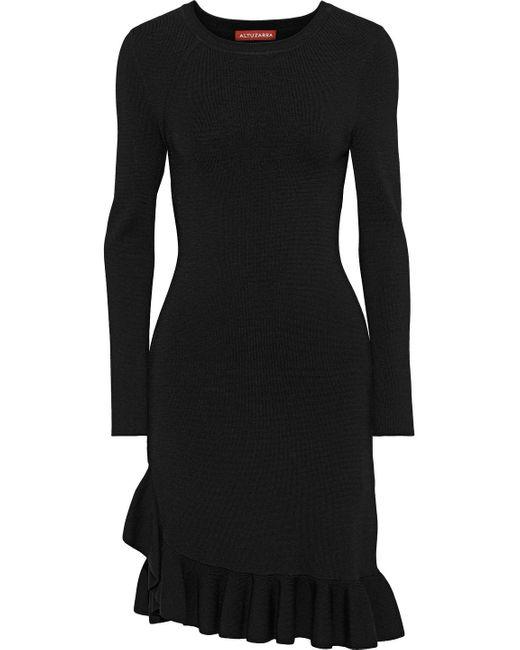 Altuzarra Black Mikey Asymmetric Ruffle-trimmed Stretch-knit Dress