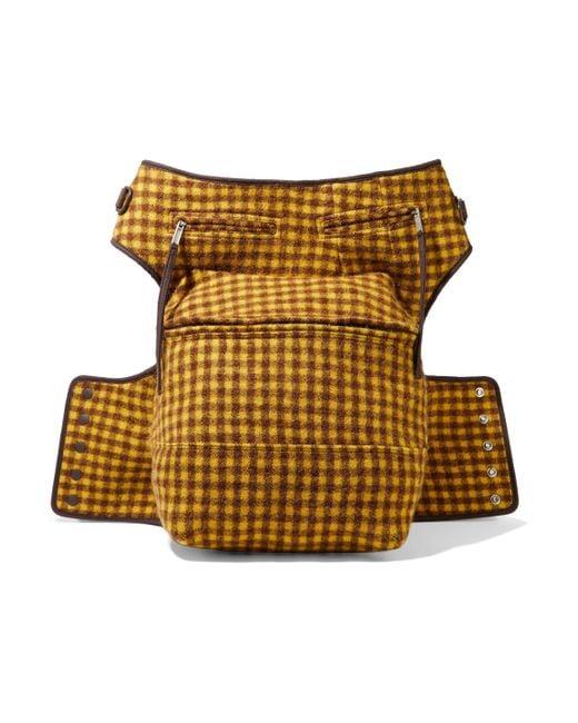 Rick Owens Multicolor Cargo Chap Checked Brushed-felt Belt Bag Saffron