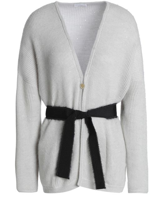 019c266280 Brunello Cucinelli - Woman Belted Ribbed-knit Cardigan Light Gray - Lyst ...