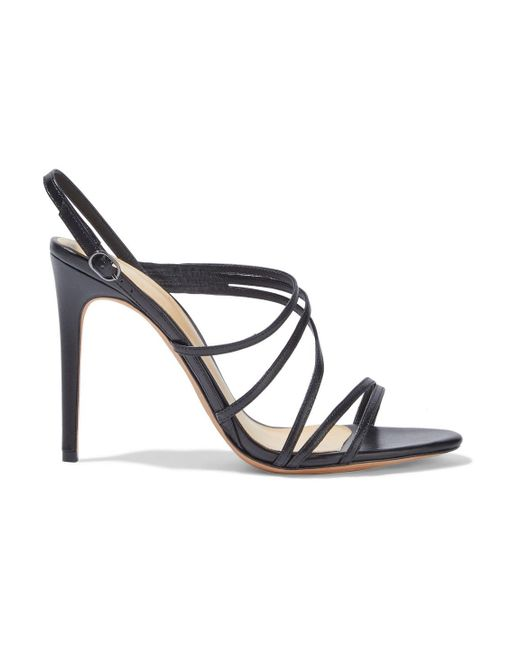 Alexandre Birman Black Leather Slingback Sandals