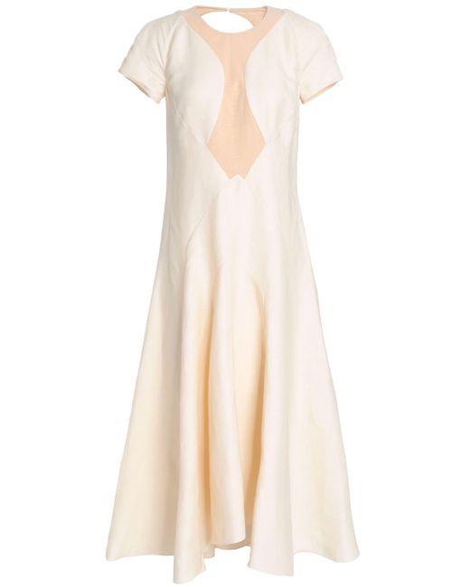 Roberto Cavalli - Natural Cutout Fluted Linen-blend Twill Midi Dress - Lyst