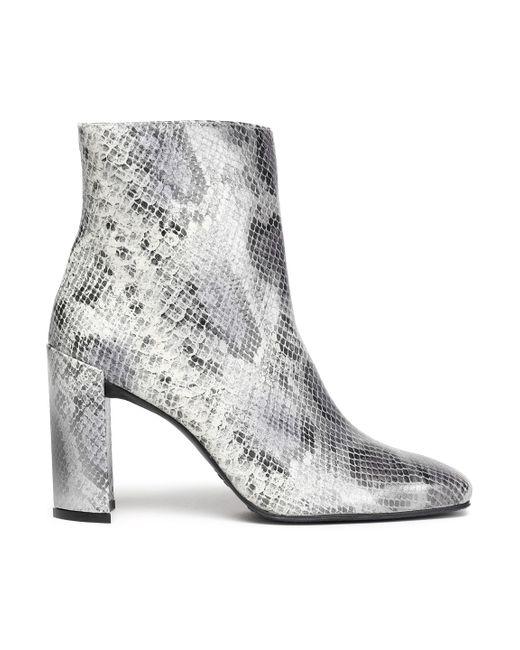 Stuart Weitzman - Gray Vigor Snake-effect Leather Ankle Boots - Lyst