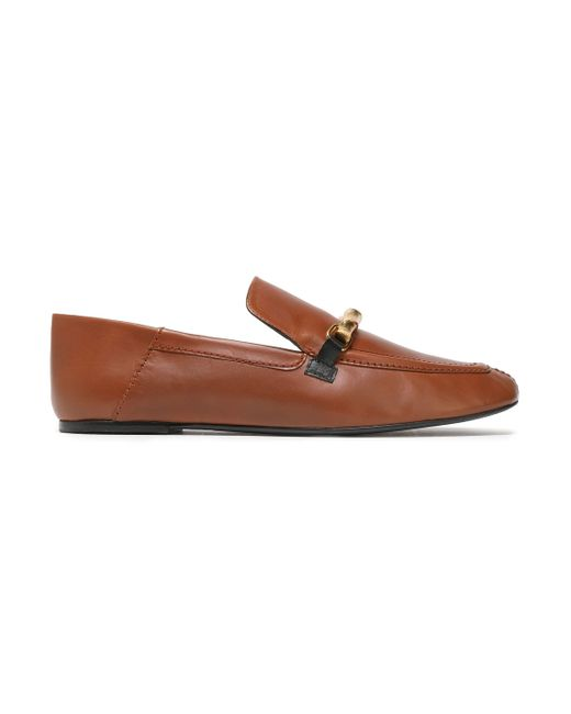 Joseph Embellished Two-tone Leather Loafers Light Brown