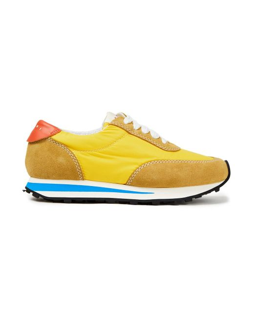 Marni Yellow Paneled Suede, Shell And Leather Sneakers