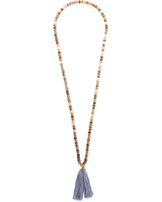 Chan Luu | Blue Gold-tone Tassel-trimmed Beaded Necklace | Lyst