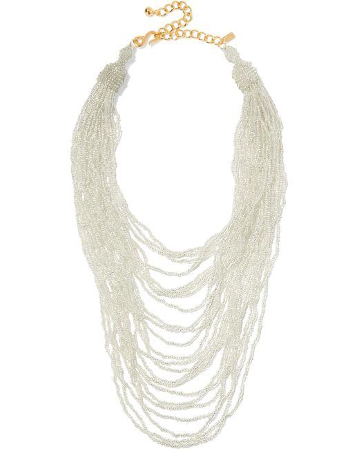 Kenneth Jay Lane | Metallic Gold-tone Beaded Necklace | Lyst