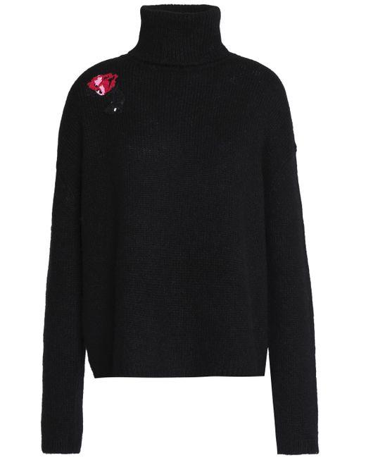 Markus Lupfer - Black Erin Sequin-embellished Alpaca-blend Turtleneck Sweater - Lyst