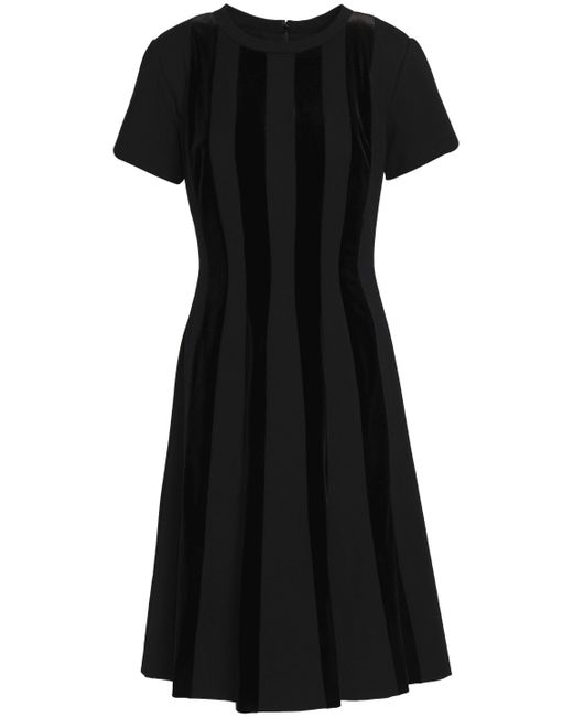 Mikael Aghal - Black Flared Satin-paneled Cotton-blend Dress - Lyst