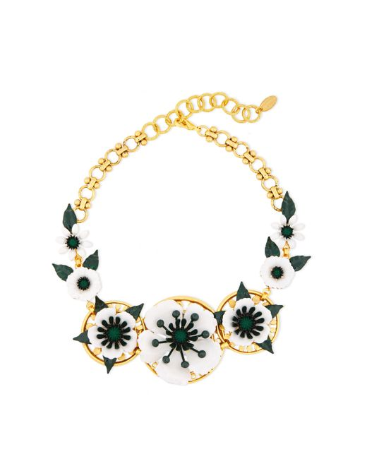 Elizabeth Cole Metallic 24-karat Gold-plated, Crystal And Resin Necklace Gold