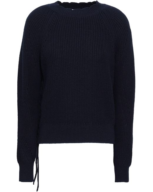 Joie Lace-up Cotton And Cashmere-blend Sweater Midnight Blue