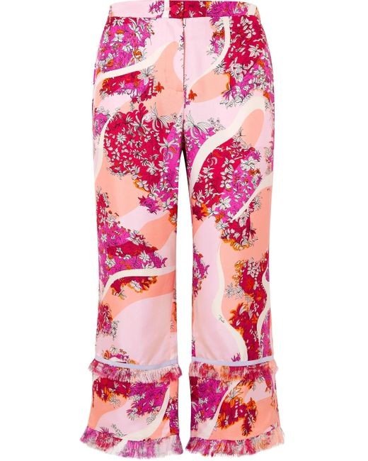 Emilio Pucci Pink Cropped Fringed Floral-print Silk-twill Wide-leg Pants Peach