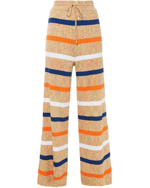 M Missoni Natural Ribbed Cotton-blend Wide-leg Pants