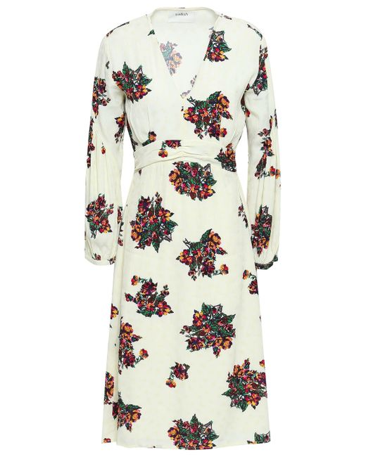 Ba&sh White Ruched Floral-print Jacquard Dress Ivory