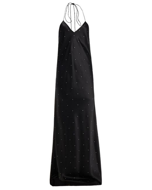 Michelle Mason Black Crystal-embellished Silk-charmeuse Gown