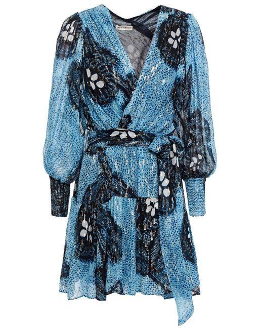 Ulla Johnson Noemi Metallic Fil Coupé Silk And Lurex-blend Mini Dress Light Blue