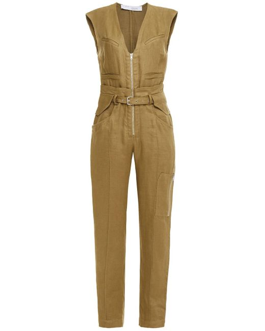 IRO Belted Linen And Cotton-blend Canvas Jumpsuit Army Green