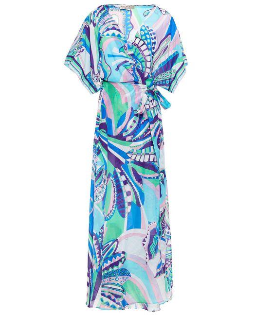 Emilio Pucci Blue Printed Cotton And Silk-blend Voile Wrap Dress