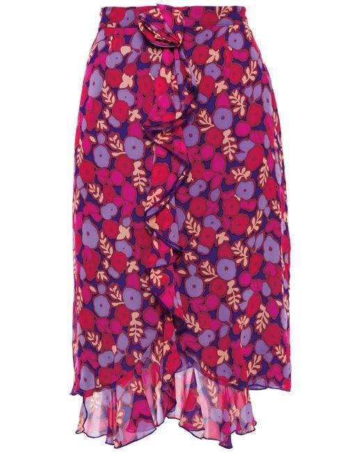 Anna Sui Blue Asymmetric Ruffled Floral-print Silk-georgette Skirt Indigo