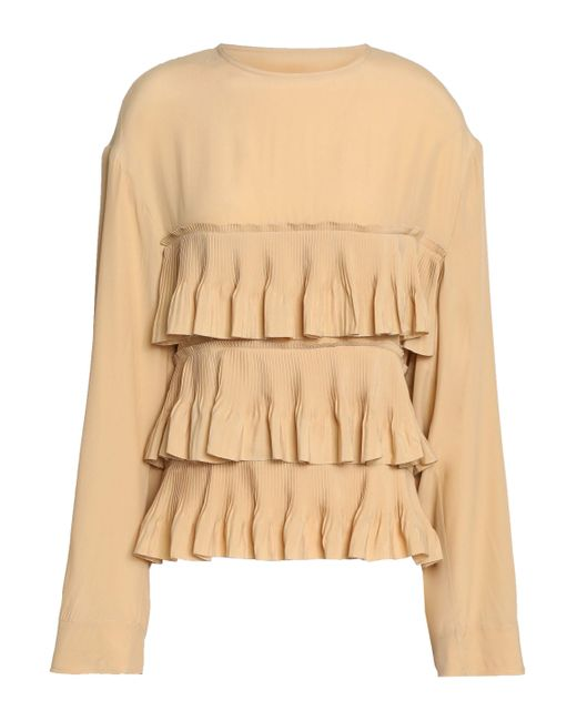 Marni Multicolor Pleated Ruffled Crepe De Chine Blouse Pastel Yellow