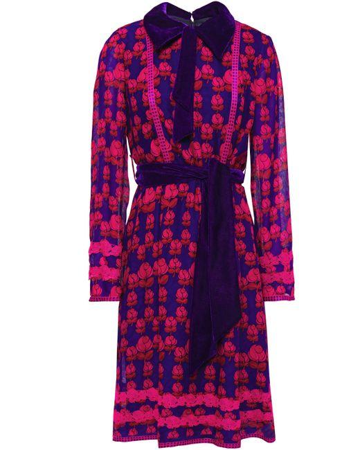 Anna Sui Blue Velvet-trimmed Floral-print Silk-chiffon Shirt Dress Indigo