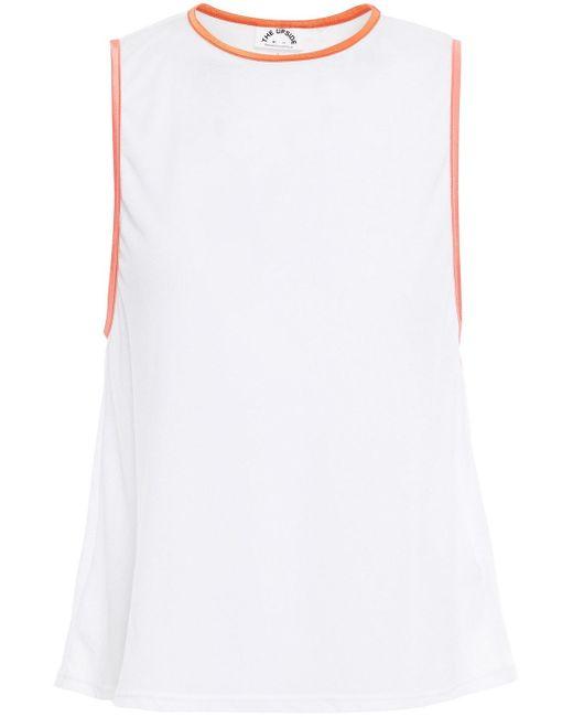 The Upside White Dri Release Sarah Printed Cotton-mesh Tank
