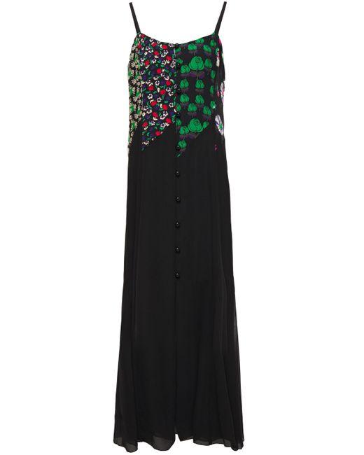 Anna Sui Crepon And Georgette-paneled Floral-print Crepe Maxi Slip Dress Black